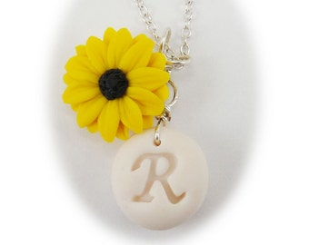 Personalized Black Eyed Susan Initial Necklace - Black Eyed Susan Jewelry , Yellow Coneflower