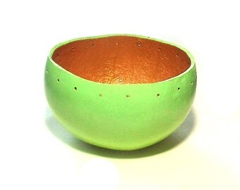 Painted Gourd Prepared 4 Pine Needle Basket Beading Green Gold Mini Gourd Art Container Drilled Finished Handmade Craft Supply Small Bowl