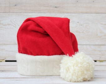 Santa Hat in Luxurious Red Cashmere and Lambswool