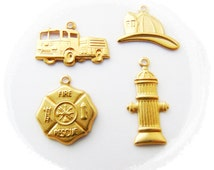BRASS (12 Pieces) Firefighter Fire Theme Charms - Brass Stampings Hydrant, Fire Hat, Fire Truck, Maltese Fire Badge (G) #