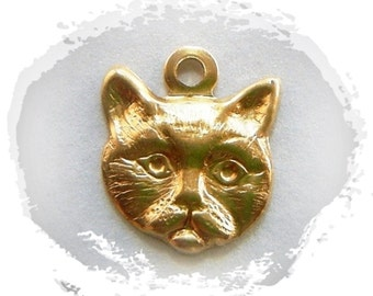 BRASS (15 Pieces) Face of Cat Charms - Cat Stamping - Jewelry Findings (G) #