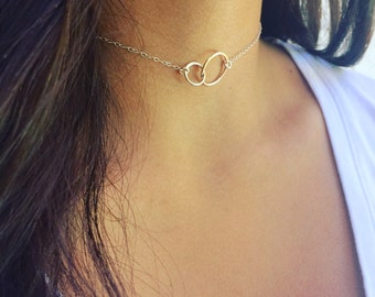 Sterling Silver Eternity Choker Dainty Choker Simple Neck Choker Bridesmaids Gift Layering Necklace