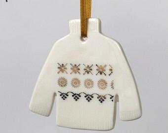 Porcelain jumper decoration, gold Fair Isle sweater Christmas ornament