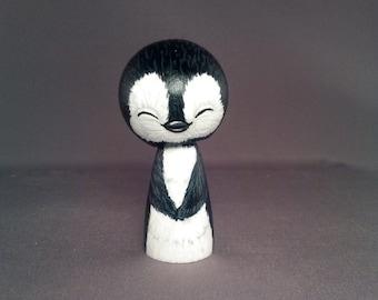 Cute Penguin Kokeshi Doll