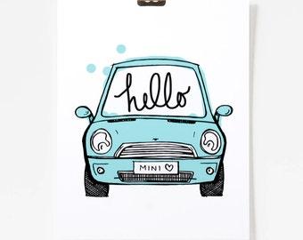 Hello Mini / Mini Cooper Art / Car Art / Art for Kids Room / 8x10 / Giclee Art Print / Mint Blue-Green Art / Car Illustration / Happy Art