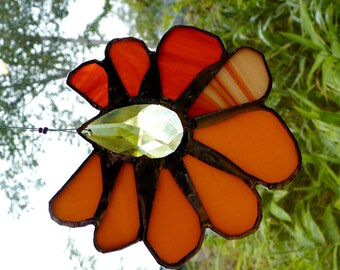 Tangerine Skies - Gorgeous Stained Glass Crystal Suncatcher Sunflower in Orange and Lemon