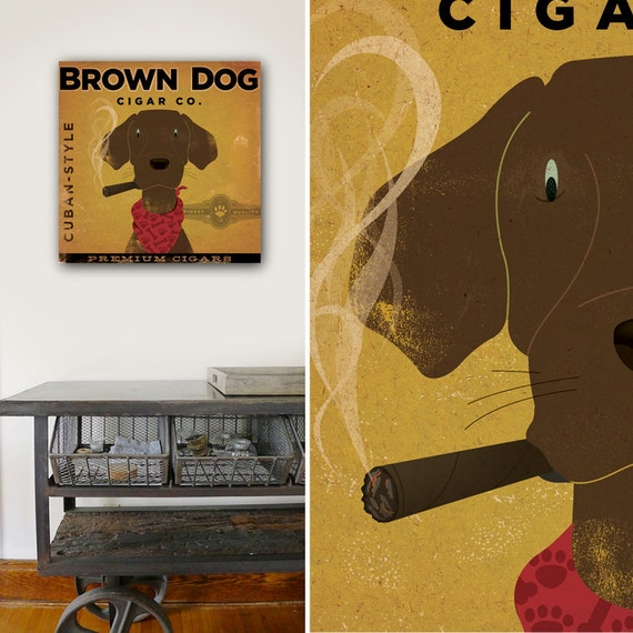 BROWN DOG CIGAR company chocolate Labrador illustration art gallery wrapped canvas by Stephen Fowler