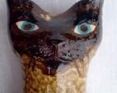 Siamese Cat Bank, Mid Century Siamese Cat, Studio Pottery OOAK