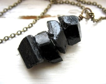 Tourmaline Necklace, Black Tourmaline Stone Antiqued Brass Chain Pendant Necklace, Handmade Artisan Tourmaline Jewelry, Gemstone Necklace