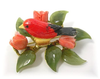Swoboda Red Bird Brooch, Jade Leaves, Carved Coral Roses, Vintage Mid-Century Jewelry, Gold-tone Metal Setting, Figural, Nature, Flowers