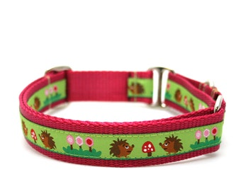 "1"" Hedgehog Picnic martingale or buckle dog collar"