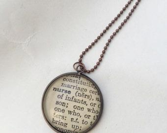 Nurse dictionary necklace, one of a kind vintage dictionary word necklace, word necklace, gift for a nurse