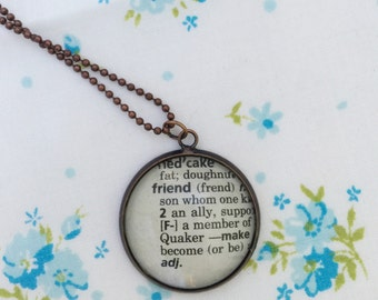 Friend word necklace,   Friend pendant, one of a kind vintage dictionary word necklace, gift for a friend, friend keepsake necklace