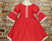 Red Polka Dots Lace Dress, Peasant Dress, Girl Red Dress, Spring Dress, Toddler Dress, Red and White Girl Dress, Birthday Girl Dress