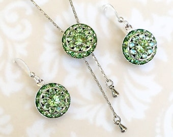 August Birthstone Jewelry Sets, Necklace Earrings, Green Wedding Jewelry, Long Silver Y Necklace, Swarvoski Crystal, Birthday Gift for Her