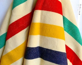 Gold Medal... Vintage Jack Frost Hudson Bay Wool Striped Blanket Point Blanket Bedspread Traders Blanket