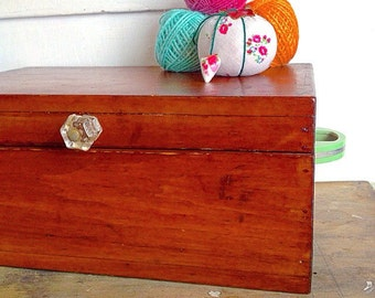 Sew Cute... Antique Wood Sewing Box Vintage Notions Storage Organization Craft Room Home Decor