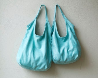 sale - SLING  - teal leather tote - soft leather tote - light nubuk leather tote