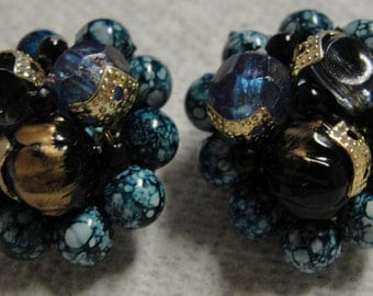 Beautiful Blue Beaded Clip Earrings