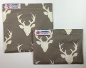 Buck Deer Antlers Re-Usable Lunchkins Snack Bags Nylon Lining and Velcro or Zipper  Closure