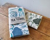 Extra large Tea Towel Vegetables screen print kitchen towel