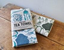 Extra large Tea Towel Vegetables screenprinted fabric flour sack towels veggies vegan vegetarian dish towel cotton towel usa made