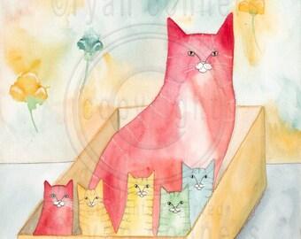 CAT Art Cats in a Box Original Watercolor Cat Folk Art Painting