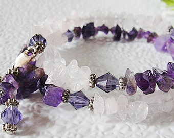 Love and Spirituality--Memory Wire Gemstone Bracelet--Crystal Bicones--Amethyst and Rose Quartz--Lovely Gift
