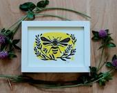 Honey Bee Print, Bumble Bee Art, Mother's Day Gift, Folk Art, Linocut Bee Print, Bee lovers, Letterpress Print, Bee Keeper Gift, Kitchen Art