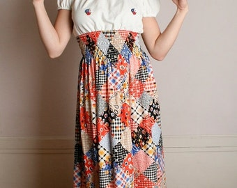 ON SALE Vintage 1970s Maxi Dress - Patchwork Colorful Country Girl Dress - Medium