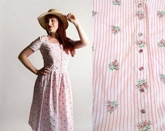 ON SALE Vintage 1950s Dress - Cotton Striped Floral Print Bouquet Pink Stripes I. Magnin Dress - Medium