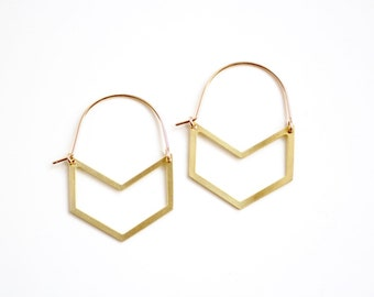 Chevron Cutout Hoop Earrings - Gold or Silver