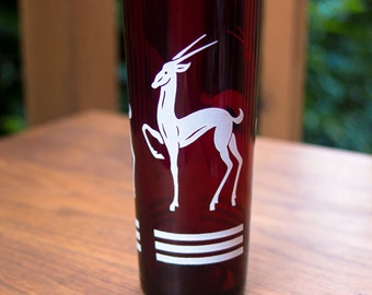 Vintage Anchor Hocking Ruby Red Gazelle (Antelope) Glass Tumbler - Beautiful!