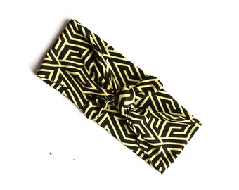 Tie Up Headscarf // Knotted Headband // Abstract // Geometric // Tribal