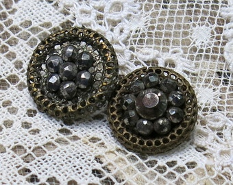 Antique Faceted Cut Steel Buttons, Two (2) ... Open Pierced Mesh Background ... Vintage Cut Steels