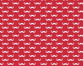 SALE fabric, Geek Chic fabric, Christmas fabric, Red fabric, Geekly Chic 2 by Riley Blake Fabrics- Geek Mustache in Red- Buy More and Save
