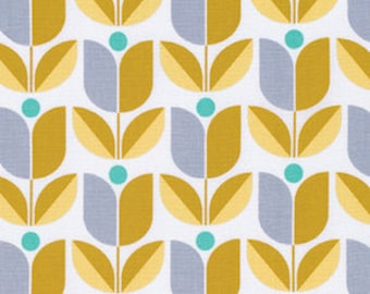 Floral fabric, Yellow Fabric, Cotton Fabric by the Yard, True Colors fabric, Tulips in Straw by Joel Dewberry, Choose your cut