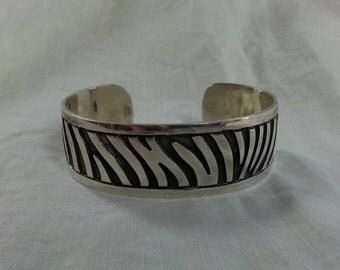 Vintage Sterling Cuff Bracelet Tiger Zebra Stripe 925 Silver