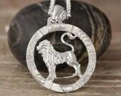 Leo zodiac pendant in oxidized silver