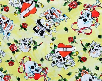 Choose From 1 of 5 Different Ed Hardy Tattoo Cotton Fabrics