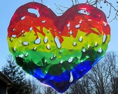 Fused glass rainbow heart suncatcher or wallhanging
