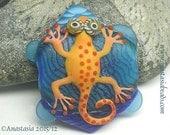 RED GECKO...handmade lampwork bead by Anastasia...SRA...ooak...