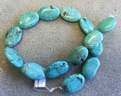 20x30mm Natural Genuine Turquoise Oval Beads from Nevada #8 Mine Great Matrix