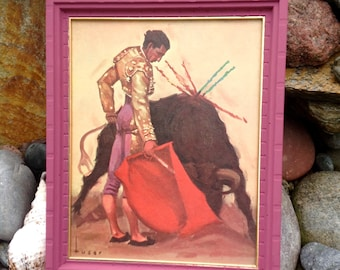 SALE-FREE SHIPPING-Vintage Jose Maria Tuser Vazquez Bull Fighter Painting-Original Print-Spanish Painter-Matador and Bull-Mexican Decor