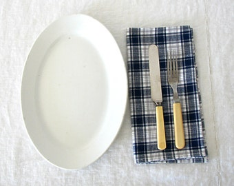 Cotton Napkins, Blue, Gray, Plaid, Eco Friendly, Reusable, Summer, Dining, Set of Four