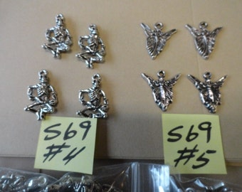 Choose your Metal Charms Spider, Skeleton, Lady Butterfly,  36 pcs. S69