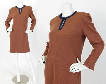 MOVING SALE Curiel Couture 1980's Vintage Rust Wool Jersey Italian Designer Dress Sz M-L