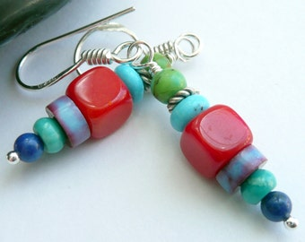 Multi Colored Southwestern Semi Precious Stone Coral Lapis Turquoise Sterling Silver OOAK Western Boho Cowgirl Gift for Her Earrings