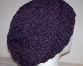 Wool Ski Hat - Slouchy Knit Beanie - Knitted Hipster Toque - Slouchy Hat - Passion Heather - Purple Hat