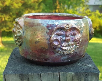 Deep Space Moon Planter Raku Ceramic  Art Pottery